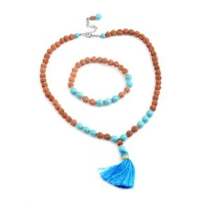 Blue Howlite Beads Tassel Necklace and bracelet